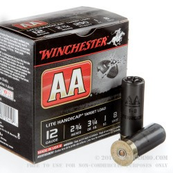 25 Rounds of 12ga Ammo by Winchester AA Lite Handicap - 1 ounce #8 shot
