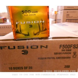 20 Rounds of .500 S&W Mag Ammo by Federal - 325gr Fusion