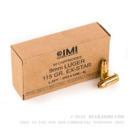 1000 Rounds of 9mm Ammo by Israeli Military Industries - 115gr JHP