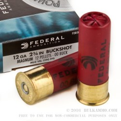 "5 Rounds of 12ga Ammo by Federal Power-Shok - 2-3/4""  00 Buck"