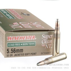 20 Rounds of 5.56x45 Ammo by Winchester Super Clean - 55gr JSP