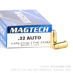 50 Rounds of .32 ACP Ammo by Magtech - 71gr FMC