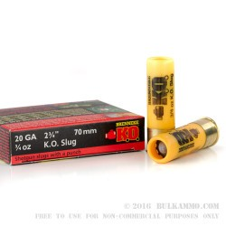 "5 Rounds of 20ga Ammo by Brenneke Slugs - 2-3/4"" 3/4 ounce Rifled Slug"