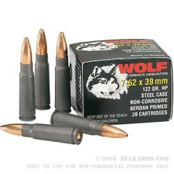 500  Rounds of 7.62x39mm Ammo by Wolf - 122gr HP