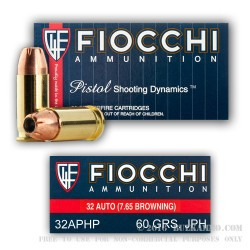 50 Rounds of .32 ACP Ammo by Fiocchi - 60gr JHP