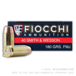 50 Rounds of .40 S&W Ammo by Fiocchi - 180gr FMJ