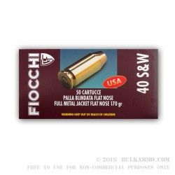 1000 Rounds of .40 S&W Ammo by Fiocchi - 170gr FMJ