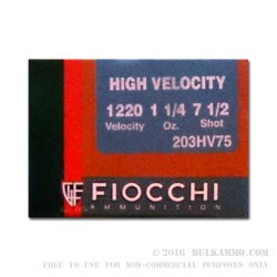25 Rounds of 20ga Ammo by Fiocchi - 1 1/4 ounce #7.5 shot