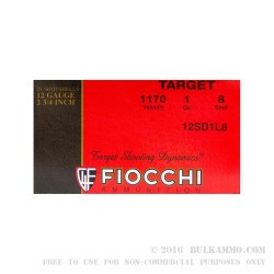 "250 Rounds of 12ga Ammo by Fiocchi - 2-3/4"" 1 ounce #8 shot"