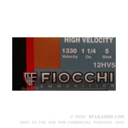 "250 Rounds of 12ga Ammo by Fiocchi - High Velocity 2-3/4"" 1-1/4 ounce #5 shot"