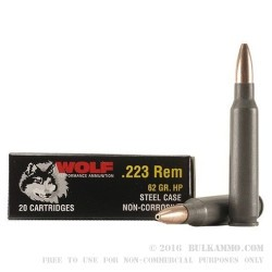 1000 Rounds of .223 Ammo by Wolf - 62gr HP