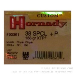 25 Rounds of .38 Spl +P Ammo by Hornady - 158gr JHP