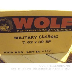 500  Rounds of 7.62x39mm Ammo by Wolf - 154gr SP