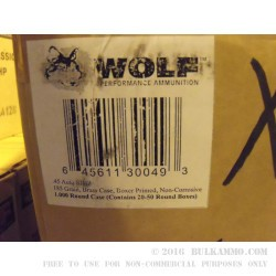 50 Rounds of .45 ACP Ammo by Wolf - 185gr JHP