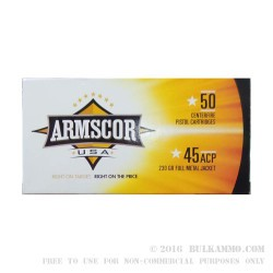 50 Rounds of .45 ACP Ammo by Armscor USA - 230gr FMJ