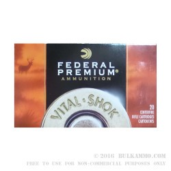 20 Rounds of .270 Win Ammo by Federal Vital-Shok - 130gr Nosler Partition SP