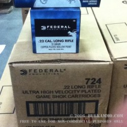 500 Rounds of .22 LR Ammo by Federal - 31gr - Copper Plated Hollow Point