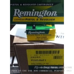 50 Rounds of 9mm Ammo by Remington Express - 115gr JHP