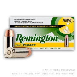 50 Rounds of .40 S&W Nickel Plated Ammo by Remington - 165gr MC