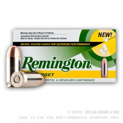 500 Rounds of .45 ACP Nickel Ammo by Remington - 230gr MC