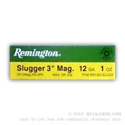 5 Rounds of 12ga Ammo by Remington Slugger - 1 ounce Rifled Slug