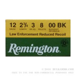 """25 Rounds of 12ga Ammo by Remington - 2-3/4"""" 00 Buck"""