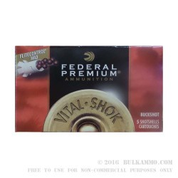 "5 Rounds of 12ga 2 3/4"" Ammo by Federal Vital-Shok FliteControl-  00 Buck"