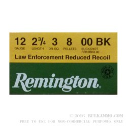 """250 Rounds of 12ga 2-3/4"""" Ammo by Remington LE Reduced Recoil - 8 Pellet 00 Buck"""