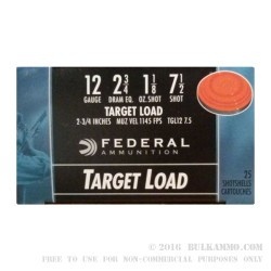 25 Rounds of 12ga Ammo by Federal - 1 1/8 ounce #7 1/2 shot