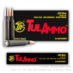 500 Rounds of .223 Ammo by Tula - 75gr HP
