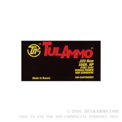 100 Rounds of .223 Ammo by Tula - 55gr HP