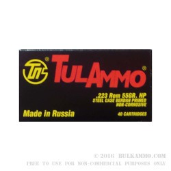 1000 Rounds of .223 Ammo by Tula -  55 Grain HP