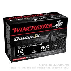 10 Rounds of 12ga Ammo by Winchester Double X Turkey Load - 1 3/4 ounce #5 shot