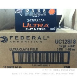 250 Rounds of 12ga Ammo by Federal Ultra Clay & Field - 1 1/8 ounce #8 shot