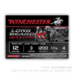 10 Rounds of 12ga Ammo by Winchester Elite Turkey Load - 1 3/4 ounce #4 shot