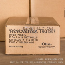 25 Rounds of 20ga Ammo by Winchester - 7/8 ounce #7 1/2 shot