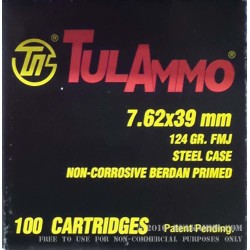 100 Rounds of 7.62x39mm Ammo by Tula - 124gr FMJ