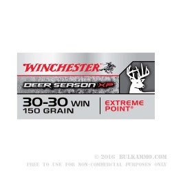 20 Rounds of 30-30 Win Ammo by Winchester Deer Season XP - 150gr Polymer Tipped