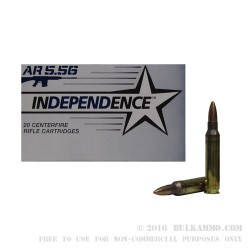20 Rounds of .223 Ammo by Independence - 55gr Full Metal Jacket