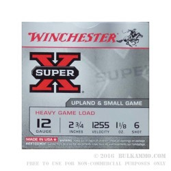 250 Rounds of 12ga Ammo by Winchester Super-X Game & Field -  #6 shot