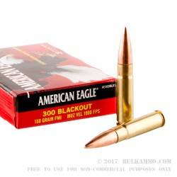 500  Rounds of .300 AAC Blackout Ammo by Federal American Eagle - 150gr FMJ