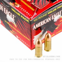 500  Rounds of 9mm Ammo by Federal American Eagle - 115gr FMJ