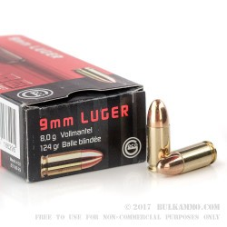 1000 Rounds of 9mm Ammo by GECO - 124gr FMJ