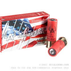 5 Rounds of 12ga Ammo by Hornady - 1 ounce Rifled Slug