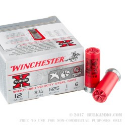 25 Rounds of 12ga Ammo by Winchester - 1 ounce #6 Shot (Steel)