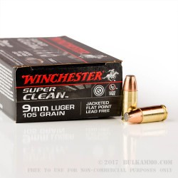 50 Rounds of 9mm Ammo by Winchester Super Clean Non-Toxic - 105gr JSP