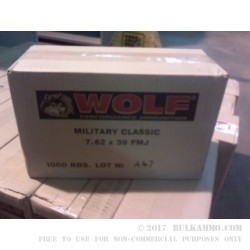 500  Rounds of 7.62x39mm Ammo by Wolf - 124gr FMJ