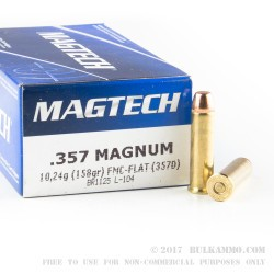 50 Rounds of .357 Mag Ammo by Magtech - 158gr FMJ