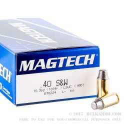 50 Rounds of .40 S&W Ammo by Magtech - 160gr Semi-Wadcutter