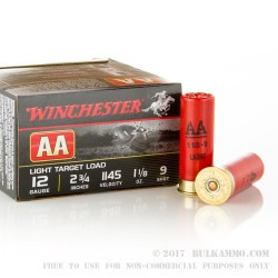 250 Rounds of 12ga Ammo by Winchester - 1 1/8 ounce #9 shot